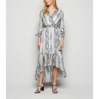 Light Grey Snake Print Glitter Ruffle Wrap Dress New Look