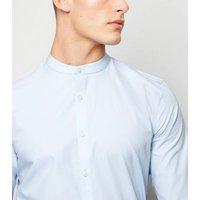 Pale Blue Poplin Long Sleeve Grandad Shirt New Look