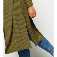 Curves Khaki Ribbed Fine Knit Midi Cardigan New Look