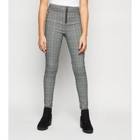 Girls Black Check Zip Front Trousers New Look