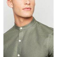 Khaki Long Sleeve Grandad Oxford Shirt New Look