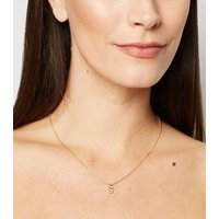 Gold Diamante S Initial Necklace New Look