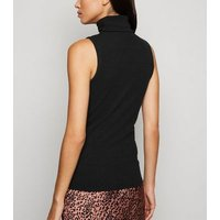 Black Ribbed Sleeveless Roll Neck Top New Look