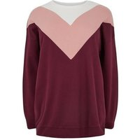 Curves Pink Chevron Colour Block Sweatshirt New Look