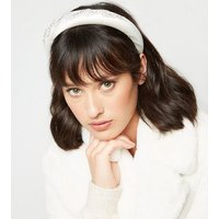 White Premium Satin Embellished Wedding Headband New Look