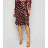 Urban Bliss Burgundy Satin Floral Midi Skirt New Look