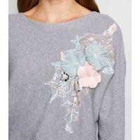 Cameo Rose Grey Floral Appliqué Batwing Jumper New Look