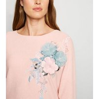Cameo Rose Pink Floral Appliqué Batwing Jumper New Look