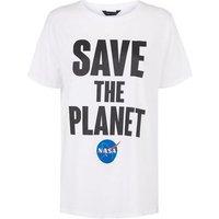 White NASA Save The Planet Slogan T-Shirt New Look