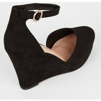 Wide Fit Black Suedette Pointed Wedges New Look