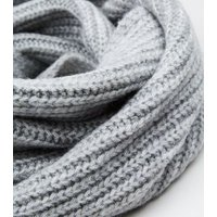Grey Cable Knit Snood New Look