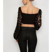 NaaNaa Black Lace Sleeve Crop Top New Look