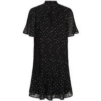 Black Spot High Tie Neck Pleated Smock Dress New Look