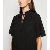 Black Tie Neck Pleated Smock Dress New Look