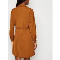 Rust Drawstring Waist Shirt Dress New Look
