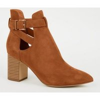 Tan Suedette Pointed Cut Out Boots New Look