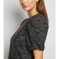 Light Grey Textured Knit Puff Sleeve Tunic Dress New Look