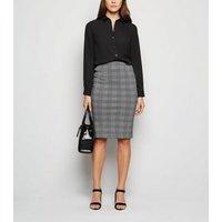 Black Check Pencil Skirt New Look