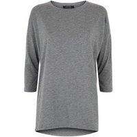 Dark Grey Glitter Longline 3/4 Sleeve Top New Look