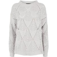 Cameo Rose Grey Chenille Pointelle Knit Jumper New Look
