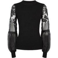 Cameo Rose Black Lace Sleeve Jumper New Look