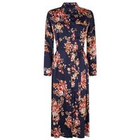 Cameo Rose Blue Satin Floral Midi Shirt Dress New Look