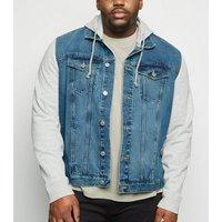 Plus Size Blue Jersey Sleeve Denim Jacket New Look