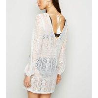 Off White Lace Crochet Beach Kaftan New Look