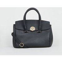 Black Textured Leather-Look Shoulder Bag New Look
