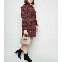 Mink Textured Leather-Look Shoulder Bag New Look