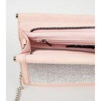 Pale Pink Suedette Diamanté Shoulder Bag New Look Vegan