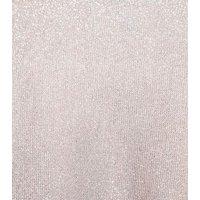 Pale Pink Glitter Pleated Wrap Midi Dress New Look