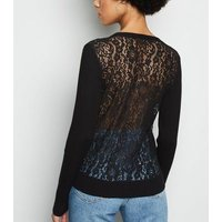 Black Lace Back Cardigan New Look