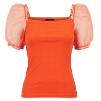 Bright Orange Puff Organza Sleeve Top New Look