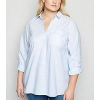 Curves Blue Stripe Linen Look Shirt New Look
