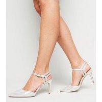 Silver Metallic Diamanté 2 Part Court Shoes New Look Vegan