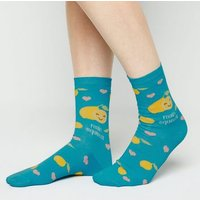Teal Main Squeeze Slogan Socks New Look