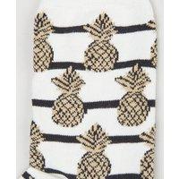 White Stripe Glitter Pineapple Socks New Look
