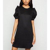 Petite Black Puff Sleeve Tunic Dress New Look