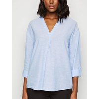 Blue Stripe Overhead Shirt New Look