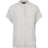 Khaki Stripe Pocket Front Short Sleeve Shirt New Look