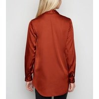Rust Satin Long Sleeve Longline Shirt New Look