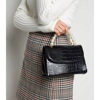 Black Faux Croc Top Handle Bag New Look