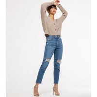 Blue Ripped High Waist Tori Mom Jeans New Look
