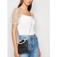 Black Diamanté Handle Chain Shoulder Bag New Look