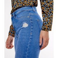 Bright Blue Ripped High Waist Hallie Super Skinny Jeans New Look