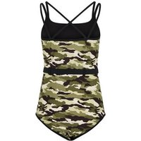 Girls Green Camo Belted Swimsuit New Look