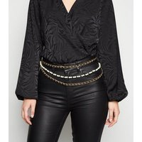 Gold Faux Pearl Layered Chain Belt New Look
