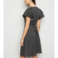 Blue Vanilla Black Polka Dot Dress New Look