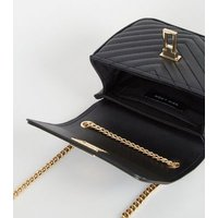 Black Leather-Look Quilted Chain Shoulder Bag New Look Vegan